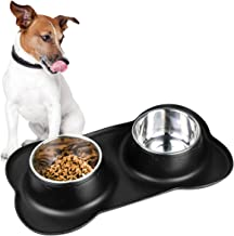 Vesxae Dog Bowls, Stainless Steel Food & Water Bowls for Small Medium Large Dogs, Puppy Bowls with No Spill No Skid Silico...