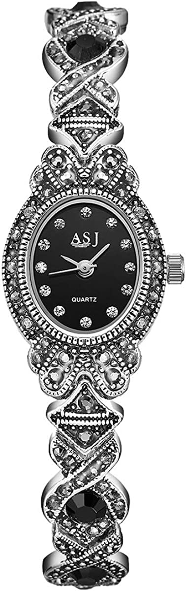 Black Gothic We OFFer at cheap prices Retro Bracelet Watch dial Rhinestone Oval Max 83% OFF Sta Women