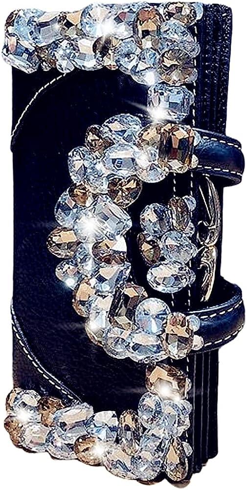 Genuine Leather Women's Wallet Ladies crystal Evening Clutch Bag Coin Purses Button Multi-card Rhinestone Fashion Female