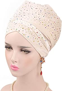 Turban Caps for Women,Head Wraps, Clearance Sale! Iuhan Starry Velvet Stretch Long Hair Scarf Turban Tie, African Head Scarf Hat (Beige)