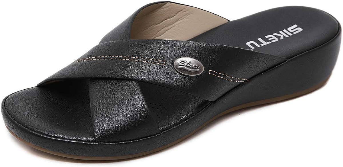 Women's Wedge Sandals Comfortable Soft Leather Platform Shoes Summer Outdoor Open Toe Cross-Strap Slide Sandal