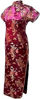 فستان سهرة صيني طويل مطبوع عليه تنين عنابي من 7Fairy Women's VTG