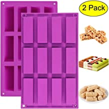 Palksky (2 Pack) 12 Cavity Medium Narrow Silicone Rectangle Molds/Molds/Protein Bars Mold/Energy Bars Maker for Caramel Bread Loaf Muffin Brownie Cornbread Cheesecake Pudding Soap Butter Mould