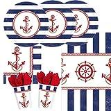 33-teiliges Party-Set maritim - Anker auf! 8 Pappteller, Durchmesser 26,7 cm, 8 Pappbecher 0,25 l 16 Servietten 33 x 33 cm 1 Tischdecke 137 x 259 cm aus Kunststofffolie Die roten Servietten in den Bechern sind Deko und gehören nicht zum Lieferumfang.