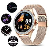 Smart Watch for Women, Activity Fitness Trackers IP68 Waterproof Elegant Ladies Smartwatch with Heart Rate Monitor, Sleep Monitor, Step Counter, Calorie Counter Women Period Female Period Tool, Gold