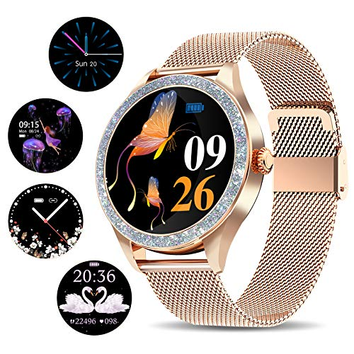 Yocuby Smartwatch für Damen, Luxus-Touchscreen-Smartwatch, Fitness-Tracker, Sportuhr, kompatibel mit iOS, Android-Handy, Geschenk für sie (Gold Pro2)
