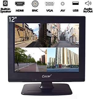 12 Inch LCD Security CCTV Monitor VGA HDMI AV BNC, 4:3 HD Display (LED Backlight) Screen with USB Drive Player for Home/St...