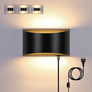 Glighone Applique Murale Interieur LED Dimmable Lampe Murale Moderne Up Down 12W Noir Luminaire Mural en Aluminium avec In...