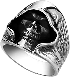 Men's Large Vintage Gothic Casted Death Grim Reaper Skull Stainless Steel Punk Ring Silver Black