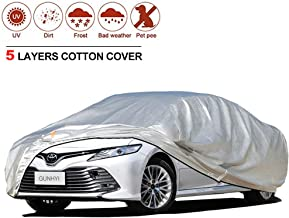 GUNHYI Sedan Car Cover for Automobiles Waterproof All Weather, 5 Layers Heavy Duty Cover Sun Rain Snow UV Protection, Universal Fit Sedan Up to 204 Inch
