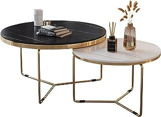 CJDM Table Basse de Luxe légère, Salon Simple ménage Petit Appartement Table Basse Ronde Table d'appoint en marbre Combina...