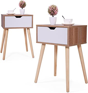 JAXSUNNY Mid-Century Side Table with Solid Wood Legs, Bedside Table Nightstand for Bedroom Set of 2, End Table w/ White Stora