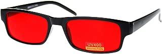 Black Rectangle Frame Color Lens Sunglasses Spring Hinge