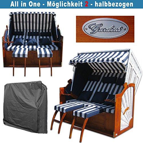 Strandkorb XXXL # 2,5-Sitzer XXXL Strandkorb breit # Ostsee Strandkorb # 2x komplett wechselbare BEZÜGE # uni Bezug blau # +BONUS Bezug blau gestreift # inkl. Strandkorbhülle # Polyrattan: weiss - 6
