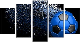 5 Pieces Soccer Football Sport Themed Canvas Print Wall Art Picture for Boy's Room Wall Decor Canvas Painting Living Room Artwork Waterproof Home Decor Blue Frame (8x14inchx2+8x18inchx2+8x22inchx1)