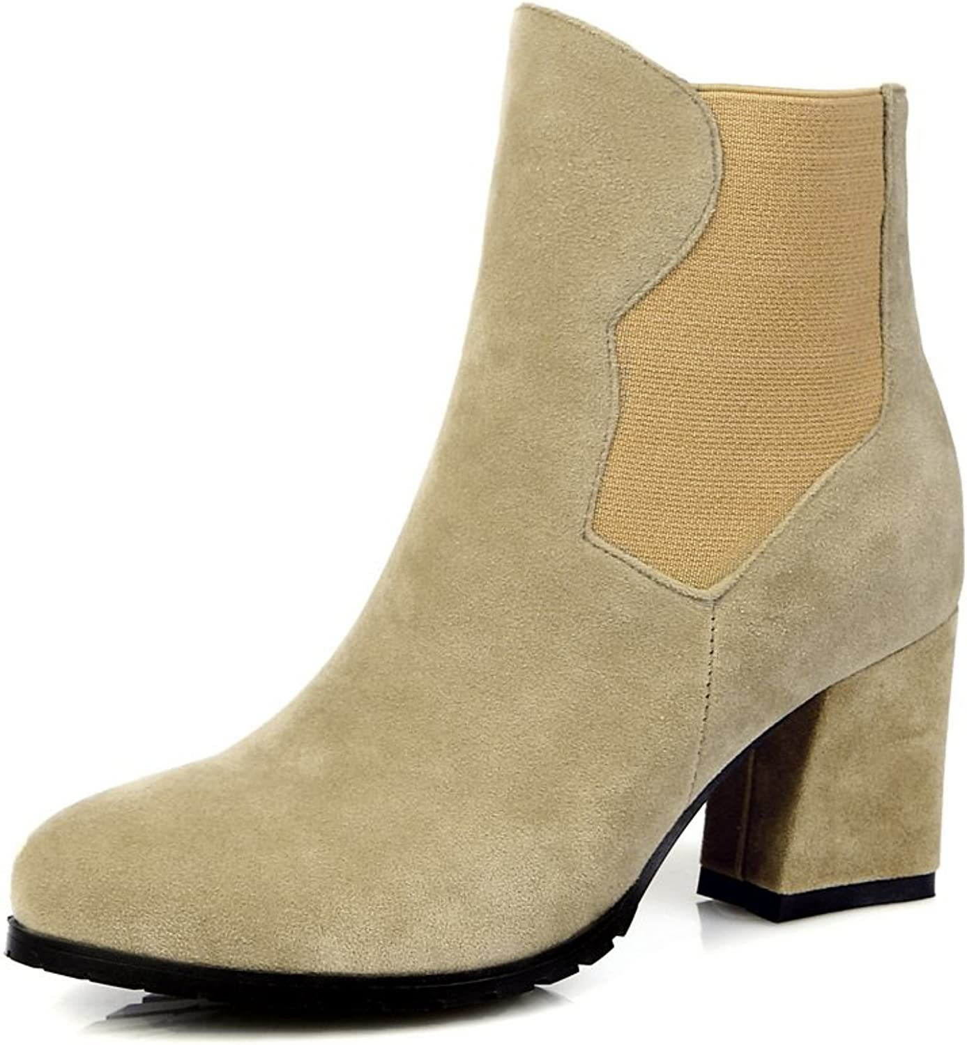 Ladola Girls Chunky Heels Zipper Solid Frosted Boots