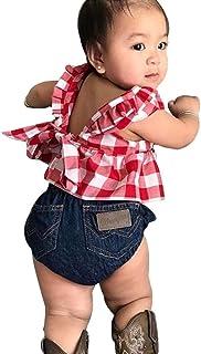 LMMVP Bambin Bébé Fille Été Tops à Carreaux à Jupe + Shorts en Jean Bandeau Ensembles de Vêtements 0-3 Ans