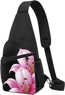 PGTry - Mochila bandolera con diseño de lirios rosas sobre fondo negro, ligera para el hombro, mochila para el pecho, bols...
