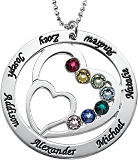 Personalized Heart Pendant Made with Swarovski Crystals-Custom Engraved Jewelry