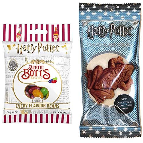 Jelly Beans Harry Potter Bertie Botts 2er Set: 1x Bertie Botts Bohnen + 1x Schokoladenfrosch inkl. Hologramm Zauberer Sammelkarte