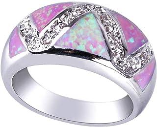 KELITCH Fire Oval Creato anello placcato argento sterling 925 opale per ragazze / donne 48B-6