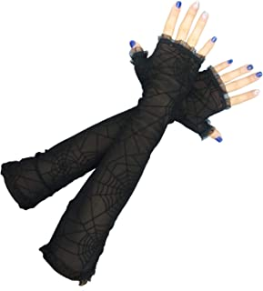 Luhiew Halloween Decorations Women's Spider Web Arm Warmer and Headband for Hallow Party