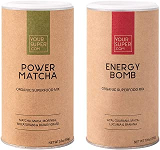 Your Super Energy Superfood Bundle Mix - Includes: Energy Bomb, Power Matcha - Plant Based Focus and Energy Blend, Natural...