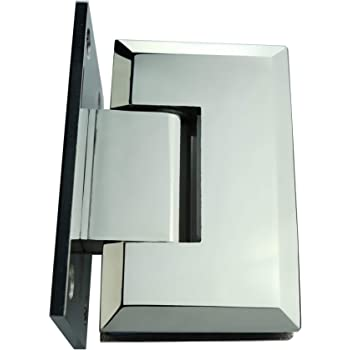 "Single Full Back Plate - 304 Stainless Steel-180 Degree Opening Self Closing for 3//8/"" /& 1//2/"" Glass VIA Shower Glass Door Hinge Shower Beveled Detailed Edges"
