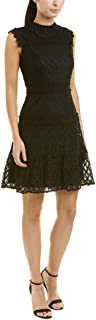 Women's Sleeveless Lace Mock Neck A-line Dress