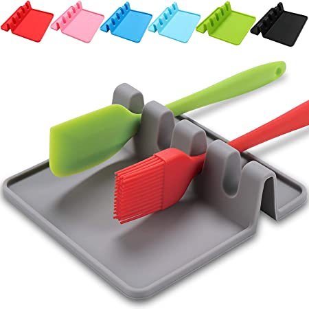 Silicone Utensil Rest with Drip Pad for Multiple Utensils,BPA-Free Spoon Rest & Spoon Holder for Stove Top,Heat-Resistant,Kitchen Utensil Holder for Spoons,Ladles,Tongs & More,By Sinnsally (Gray)