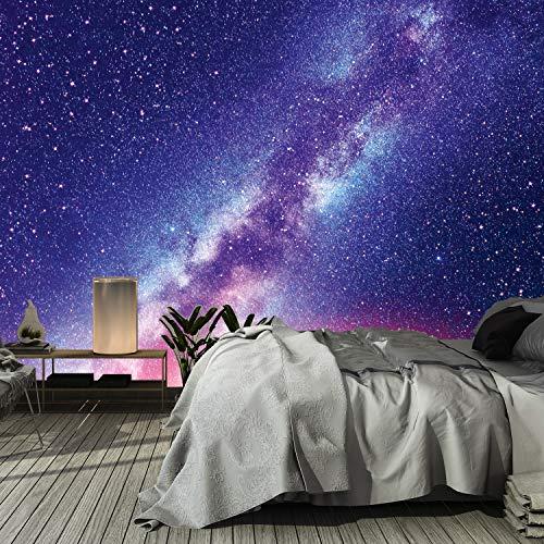 Murimage fotobehang universum 3D 366 x 254 cm inclusief lijm Galaxie wereldall sterren Cosmos nachthemel cosmonaut Sky Ufo vallende ster nacht woonkamer slaapkamer