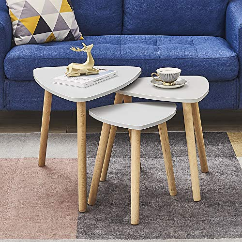 Set of 3 Coffee Table Nesting Coffee End Tables Modern Occasional Side Table Nesting Tables In Gray with Wood Leg for Living Room, Dining Room, Office, Kitchen, Bedroom (Gray)