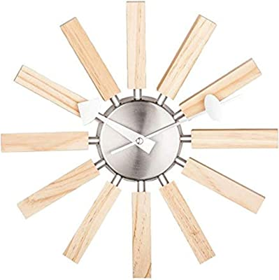 Telechron Natural Wood Spokes Wall Clock, Wood/Silver