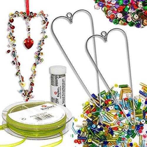 geburtstagsfee Mädchenschmuck-Bastelset mit Perlen & Herzen, mit Drahtherzen, Perlen und Band