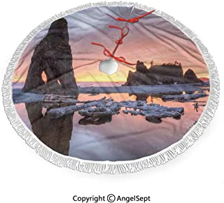 36 inch Christmas Tree Skirt Sunset Theme Sea Stacks and Driftwood at Ruby Beach Digital Image,3D Print for Merry Christmas & New Year Party Holiday Home Decorations