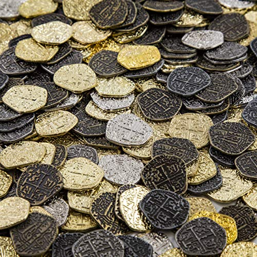 Metal Pirate Coins - 30 Gold and Silver Spanish Doubloon Replicas - Fantasy Metal Coin Pirate Treasure