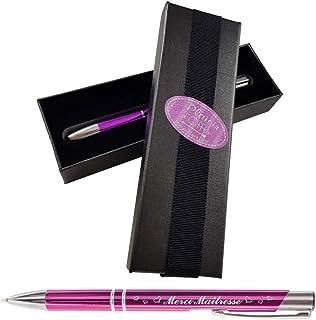 Stylo Merci Maîtresse – stylo violet gravé avec sa boite cadeau – Cadeau Maîtresse d'école maternelle ou primaire – cadeau...