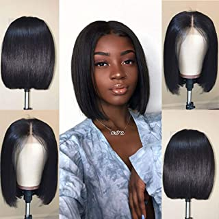 Jaja Hair Short Straight Bob Wigs Human Hair 13x4 Lace Front Wigs for Black Women 130% Density Pre Plucked with Baby Hair Natural Black Color 12 Inch
