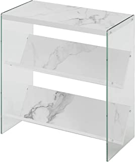 Convenience Concepts Soho Bookcase, White Faux Marble/Glass