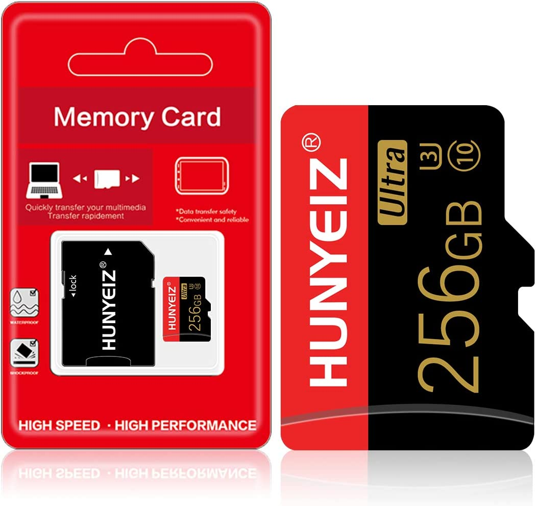 256GB Micro SD Card with Adapter Memory SD for Camera (Class 10 High Speed) Memory Card for Phone Computer Game Console, Dash Cam, Camcorder, GPS, Surveillance, Drone