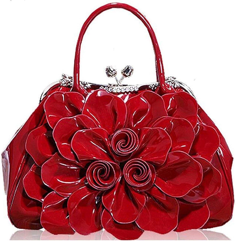 Soft Flower Bag Bride Handbag Fashion Patent Leather Handbag Bag Dress Bag Handbag (color   Red, Size   One Size)