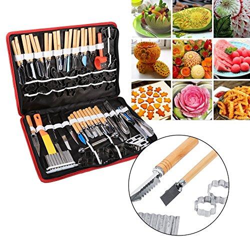 Verduras y frutas Alimentos frutas para tallar herramientas para tallar, 80unidades, cocina de acero inoxidable Kit de herramienta con bolsa