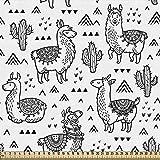 ABAKUHAUS Lama Gewebe als Meterware, Doodle Alpaka Design,