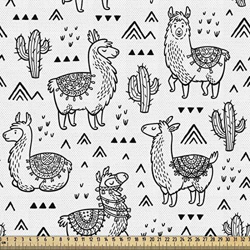 ABAKUHAUS Lama Gewebe als Meterware, Doodle Alpaka Design, Schön Gewebten Stoff für Polster und Wohnaccessoires, 1M (148x100cm), Weiß Schwarz