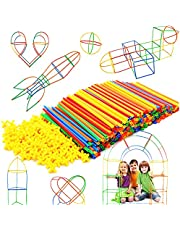 Halmkonstruktör sammankopplade plastleksaker – färgglada byggleksaker – rolig pedagogisk – säker för barn – utvecklar motoriska färdigheter-byggblock – bästa presenten till pojkar och flickor