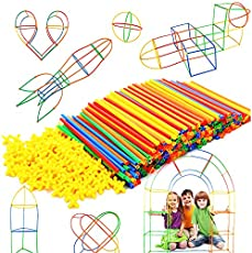 Straw Constructor STEM Building Toys 300 pcs Interlocking Plastic-Educational Toys Engineering Building Blocks -Construction Blocks- STEM Toys for3-12Year Old Boys and Girls