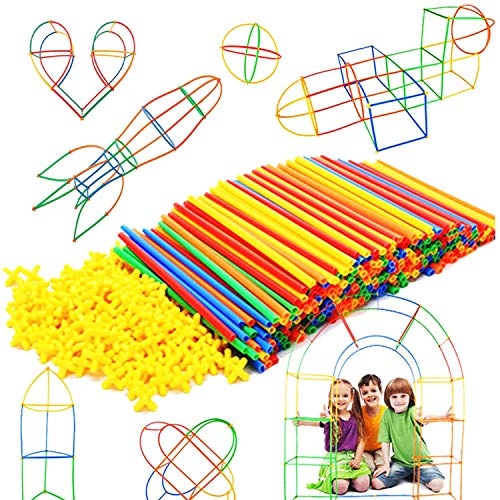 Straw Constructor STEM Building Toys 300 pcs Interlocking Plastic Educational Toys Engineering Building Blocks -Construction Blocks- Kids Toy for 3-12 Year Old Boys and Girls