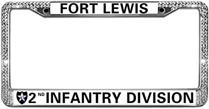 GND Licence Plate Frame Covers Fort Lewis 2nd Infantry Division Bling License Plate Frame for Women,Veteran US Army Stainless Steel Car Licence Plate Covers for US Vehicles