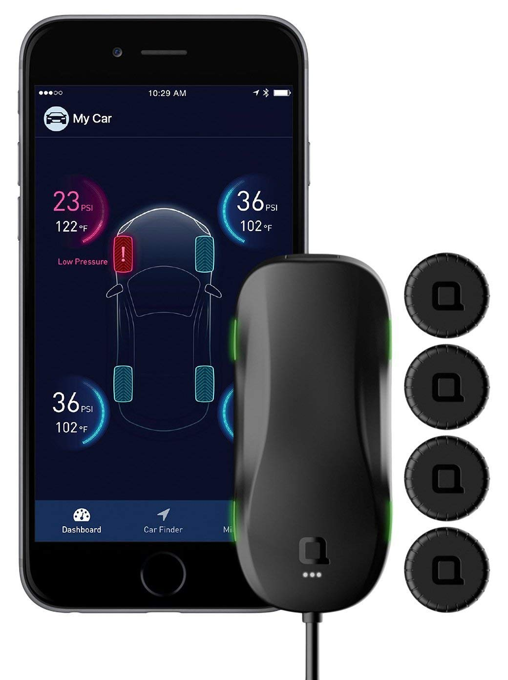 Nonda Zus Smart Tire Safety Monitor, Slow Leak Detection with AccurateTemp Technology, Real-Time Tire Pressure & Temperature Data, 10 Mins Self-Instal