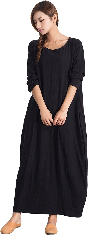 OverSize Women's Linen Cotton Soft Casual Loose Dress Plus Clothing 17